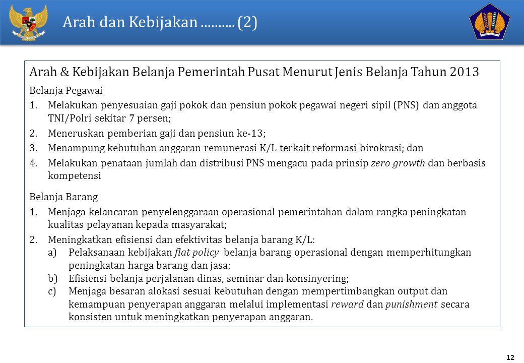 12 Arah dan Kebijakan.......... (2) Arah & Kebijakan Belanja Pemerintah Pusat Menurut Jenis Belanja Tahun 2013 Belanja Pegawai 1.Melakukan penyesuaian