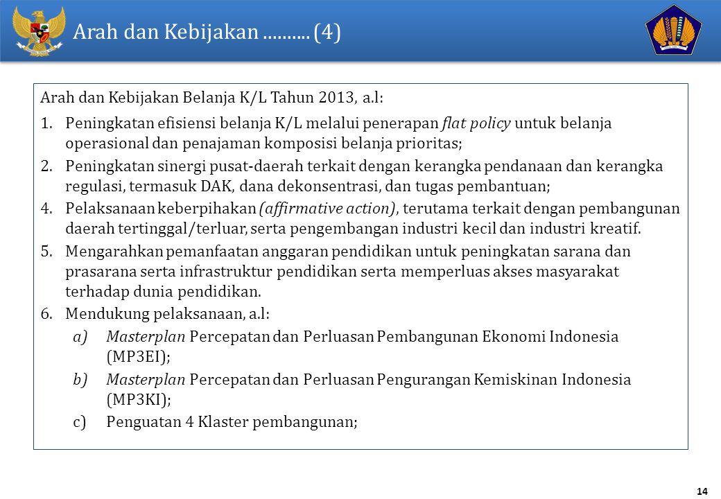 14 Arah dan Kebijakan.......... (4) Arah dan Kebijakan Belanja K/L Tahun 2013, a.l: 1.Peningkatan efisiensi belanja K/L melalui penerapan flat policy