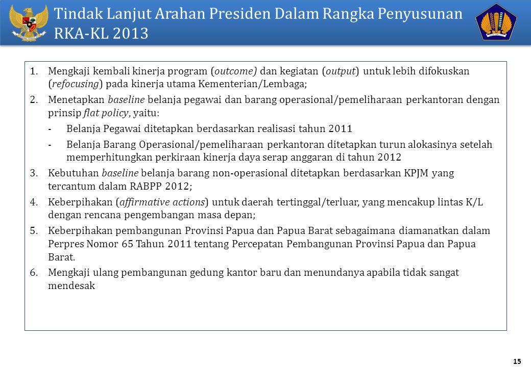15 Tindak Lanjut Arahan Presiden Dalam Rangka Penyusunan RKA-KL 2013 1.Mengkaji kembali kinerja program (outcome) dan kegiatan (output) untuk lebih di