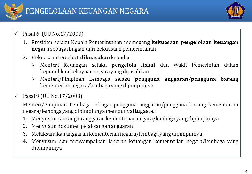 4 PENGELOLAAN KEUANGAN NEGARA Pasal 6 (UU No.17/2003) 1.Presiden selaku Kepala Pemerintahan memegang kekuasaan pengelolaan keuangan negara sebagai bag