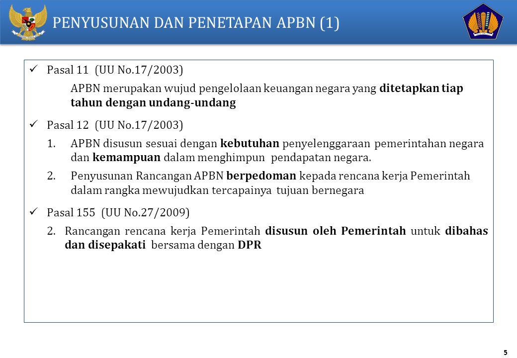 5 PENYUSUNAN DAN PENETAPAN APBN (1) Pasal 11 (UU No.17/2003) APBN merupakan wujud pengelolaan keuangan negara yang ditetapkan tiap tahun dengan undang