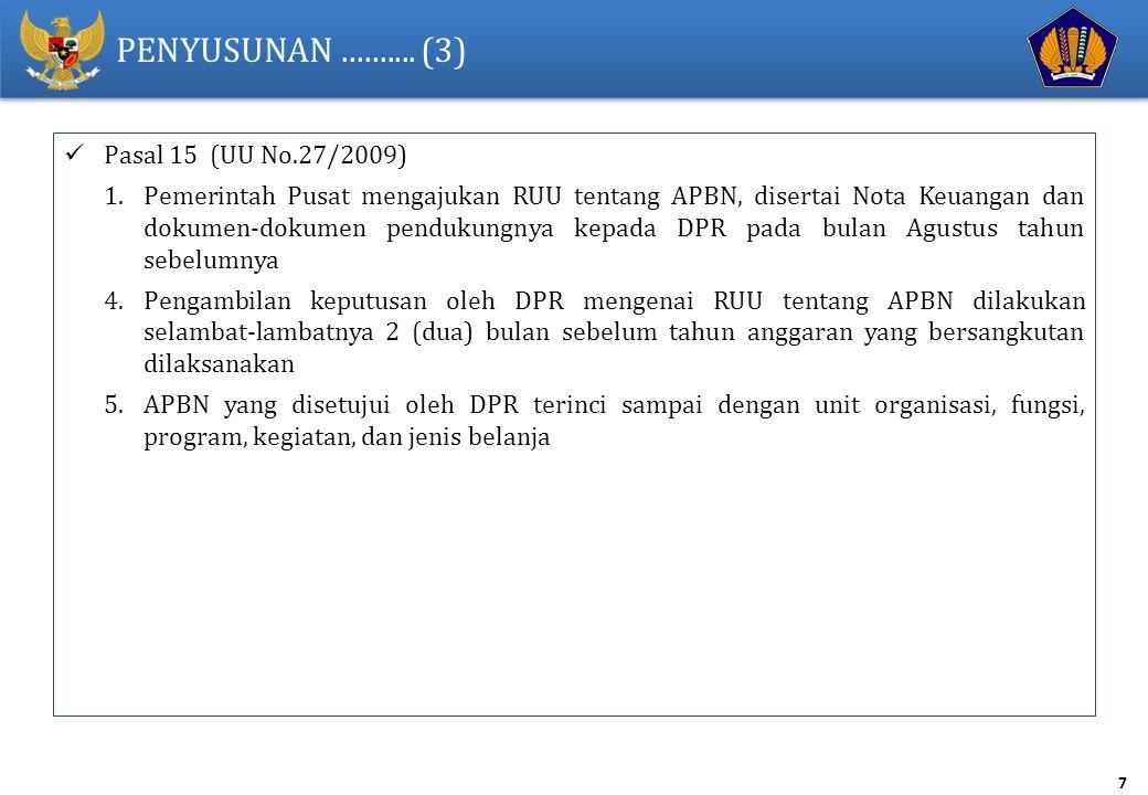7 PENYUSUNAN.......... (3) Pasal 15 (UU No.27/2009) 1.Pemerintah Pusat mengajukan RUU tentang APBN, disertai Nota Keuangan dan dokumen-dokumen penduku