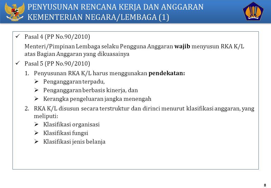 8 PENYUSUNAN RENCANA KERJA DAN ANGGARAN KEMENTERIAN NEGARA/LEMBAGA (1) Pasal 4 (PP No.90/2010) Menteri/Pimpinan Lembaga selaku Pengguna Anggaran wajib menyusun RKA K/L atas Bagian Anggaran yang dikuasainya Pasal 5 (PP No.90/2010) 1.Penyusunan RKA K/L harus menggunakan pendekatan:  Penganggaran terpadu,  Penganggaran berbasis kinerja, dan  Kerangka pengeluaran jangka menengah 2.RKA K/L disusun secara terstruktur dan dirinci menurut klasifikasi anggaran, yang meliputi:  Klasifikasi organisasi  Klasifikasi fungsi  Klasifikasi jenis belanja