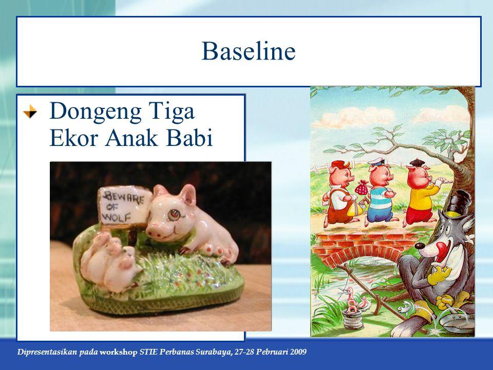 Dipresentasikan pada workshop STIE Perbanas Surabaya, 27-28 Pebruari 2009 Baseline Dongeng Tiga Ekor Anak Babi