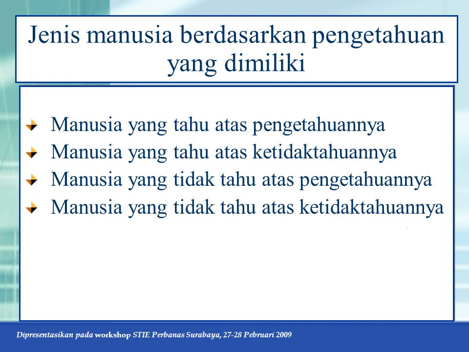 Dipresentasikan pada workshop STIE Perbanas Surabaya, 27-28 Pebruari 2009 Jenis manusia berdasarkan pengetahuan yang dimiliki Manusia yang tahu atas p