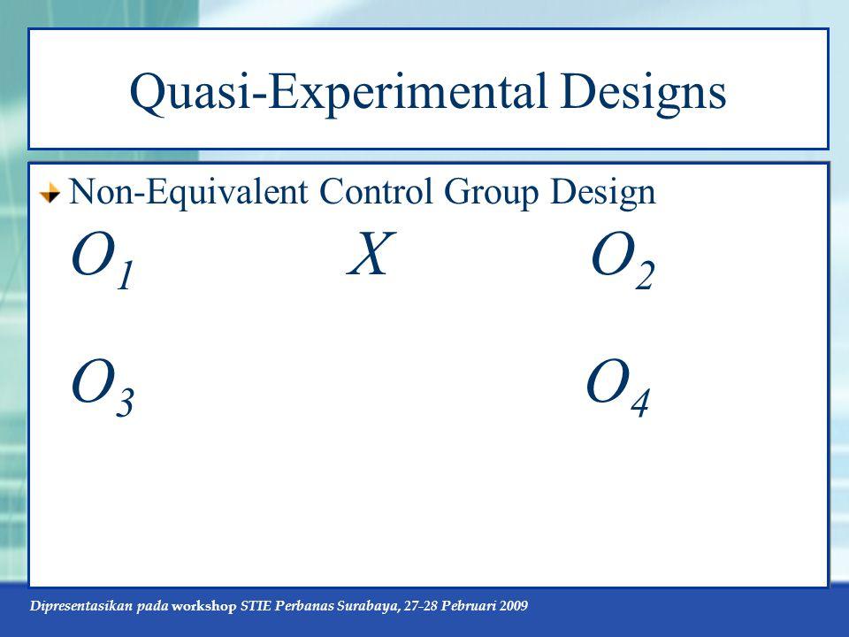 Dipresentasikan pada workshop STIE Perbanas Surabaya, 27-28 Pebruari 2009 Quasi-Experimental Designs Non-Equivalent Control Group Design O 1 X O 2 O 3 O 4