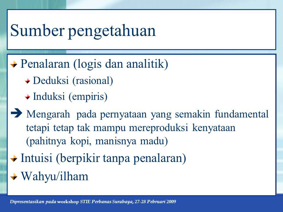 Dipresentasikan pada workshop STIE Perbanas Surabaya, 27-28 Pebruari 2009 Sumber pengetahuan Penalaran (logis dan analitik) Deduksi (rasional) Induksi