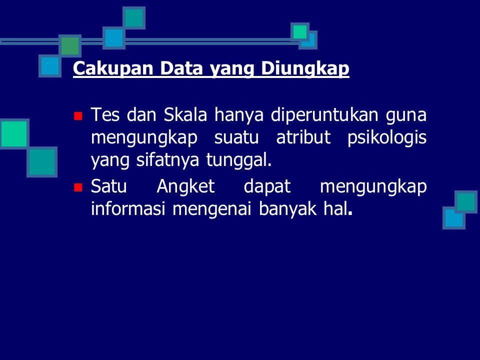 Cakupan Data yang Diungkap Tes dan Skala hanya diperuntukan guna mengungkap suatu atribut psikologis yang sifatnya tunggal. Satu Angket dapat mengungk