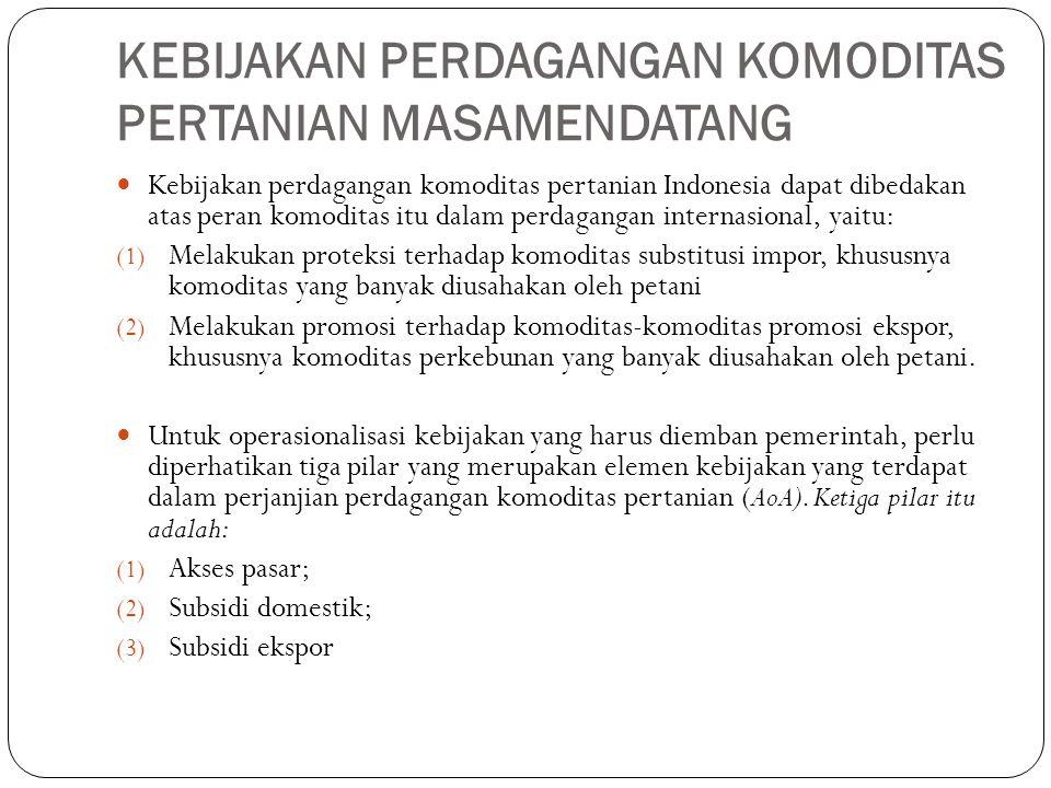KEBIJAKAN PERDAGANGAN KOMODITAS PERTANIAN MASAMENDATANG Kebijakan perdagangan komoditas pertanian Indonesia dapat dibedakan atas peran komoditas itu dalam perdagangan internasional, yaitu: (1) Melakukan proteksi terhadap komoditas substitusi impor, khususnya komoditas yang banyak diusahakan oleh petani (2) Melakukan promosi terhadap komoditas-komoditas promosi ekspor, khususnya komoditas perkebunan yang banyak diusahakan oleh petani.
