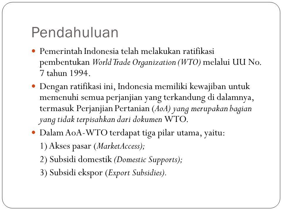 Pendahuluan Pemerintah Indonesia telah melakukan ratifikasi pembentukan World Trade Organization (WTO) melalui UU No. 7 tahun 1994. Dengan ratifikasi