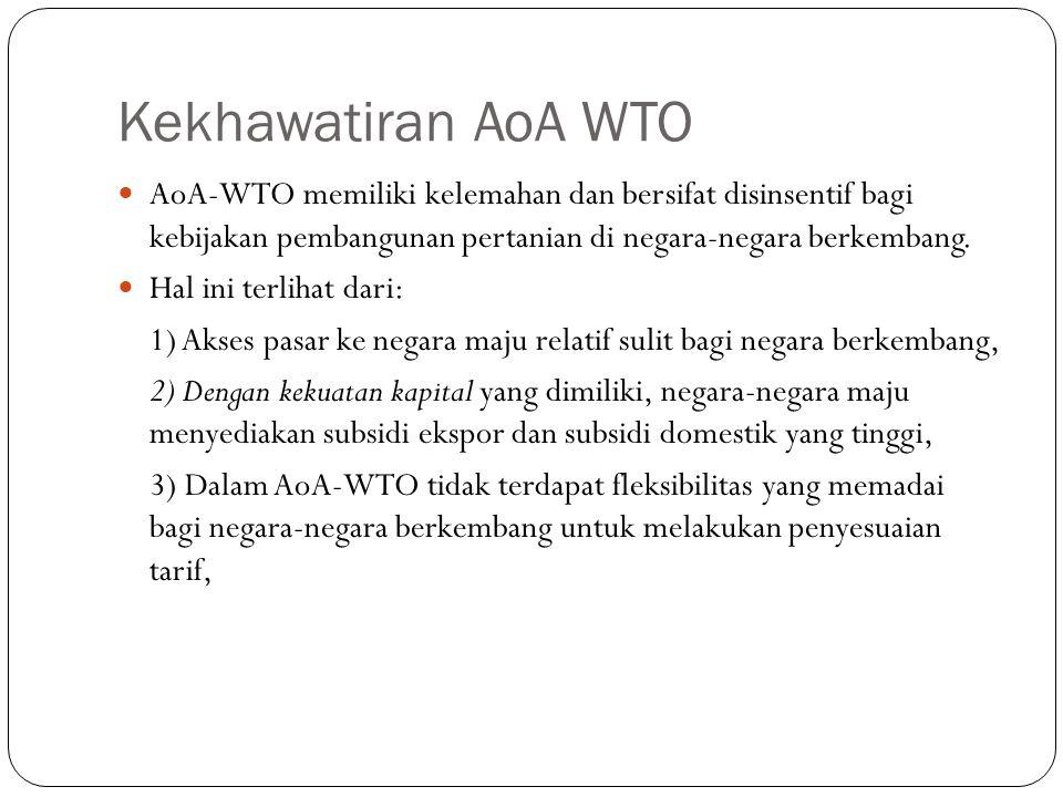 Kekhawatiran AoA WTO AoA-WTO memiliki kelemahan dan bersifat disinsentif bagi kebijakan pembangunan pertanian di negara-negara berkembang. Hal ini ter