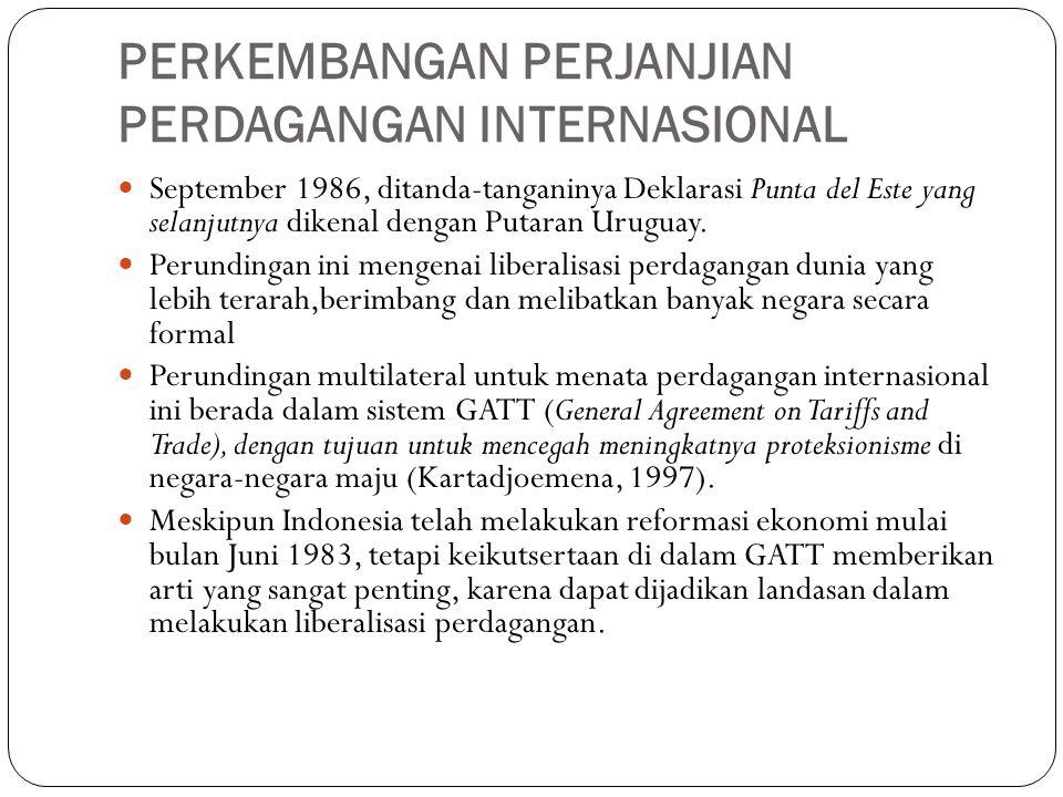 PERKEMBANGAN PERJANJIAN PERDAGANGAN INTERNASIONAL September 1986, ditanda-tanganinya Deklarasi Punta del Este yang selanjutnya dikenal dengan Putaran