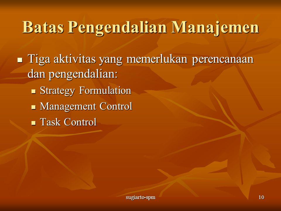 sugiarto-spm10 Batas Pengendalian Manajemen Tiga aktivitas yang memerlukan perencanaan dan pengendalian: Tiga aktivitas yang memerlukan perencanaan da