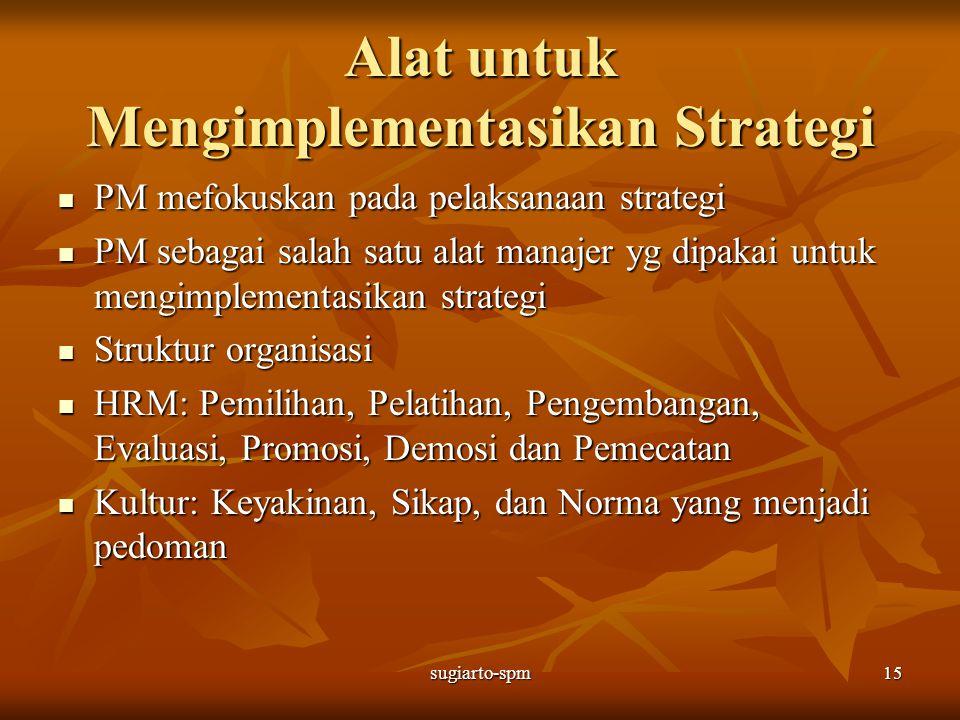 sugiarto-spm15 Alat untuk Mengimplementasikan Strategi PM mefokuskan pada pelaksanaan strategi PM mefokuskan pada pelaksanaan strategi PM sebagai sala