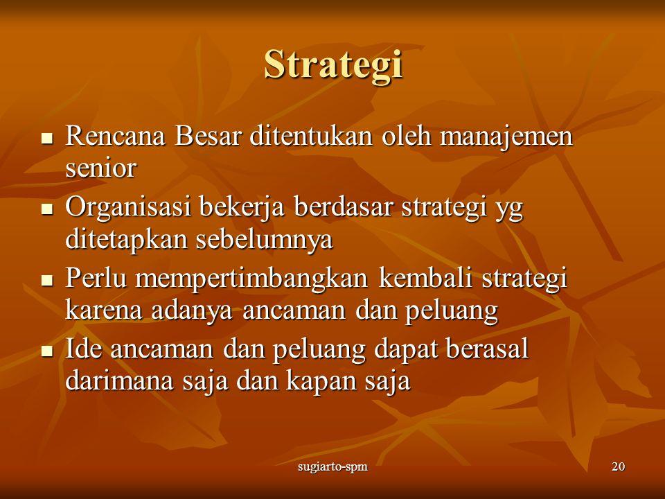 sugiarto-spm20 Strategi Rencana Besar ditentukan oleh manajemen senior Rencana Besar ditentukan oleh manajemen senior Organisasi bekerja berdasar stra