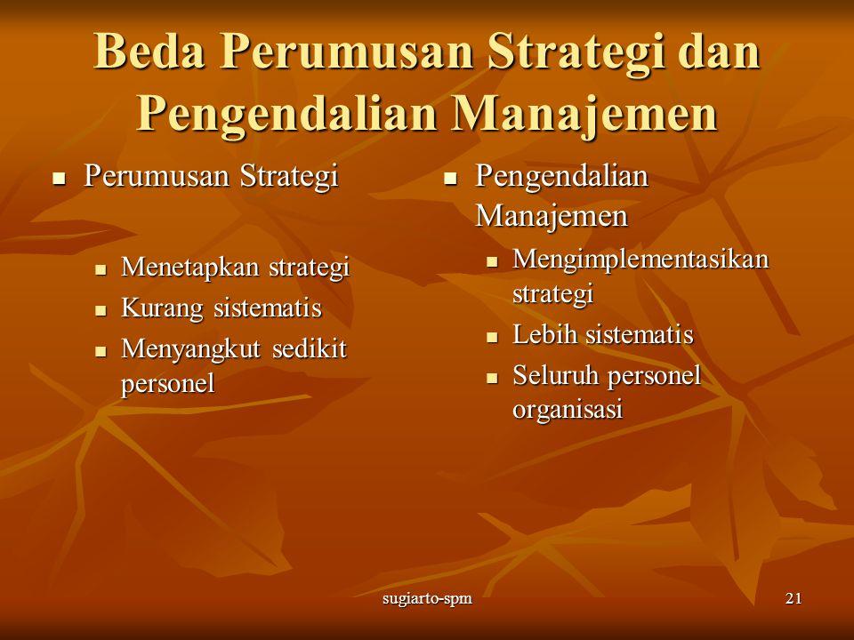 sugiarto-spm21 Beda Perumusan Strategi dan Pengendalian Manajemen Perumusan Strategi Perumusan Strategi Menetapkan strategi Menetapkan strategi Kurang