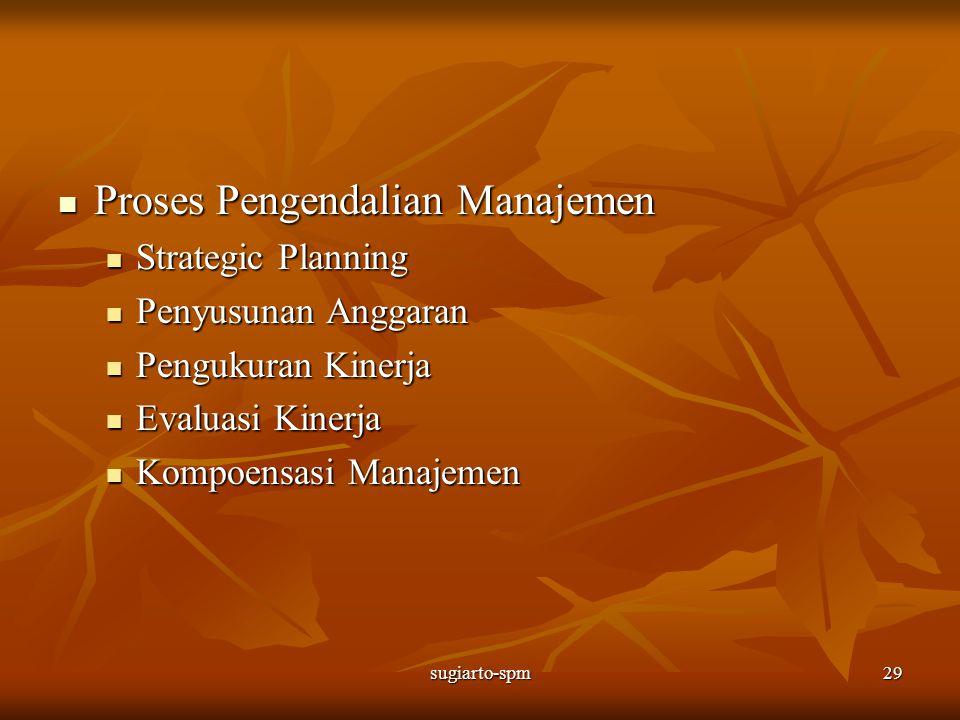 sugiarto-spm29 Proses Pengendalian Manajemen Proses Pengendalian Manajemen Strategic Planning Strategic Planning Penyusunan Anggaran Penyusunan Anggar