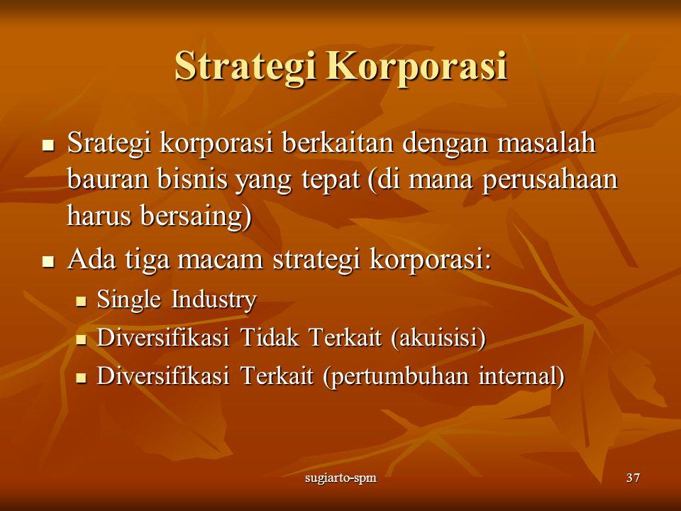 sugiarto-spm37 Strategi Korporasi Srategi korporasi berkaitan dengan masalah bauran bisnis yang tepat (di mana perusahaan harus bersaing) Srategi korp