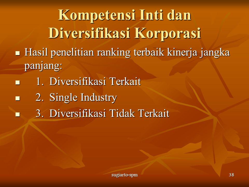 sugiarto-spm38 Kompetensi Inti dan Diversifikasi Korporasi Hasil penelitian ranking terbaik kinerja jangka panjang: Hasil penelitian ranking terbaik k
