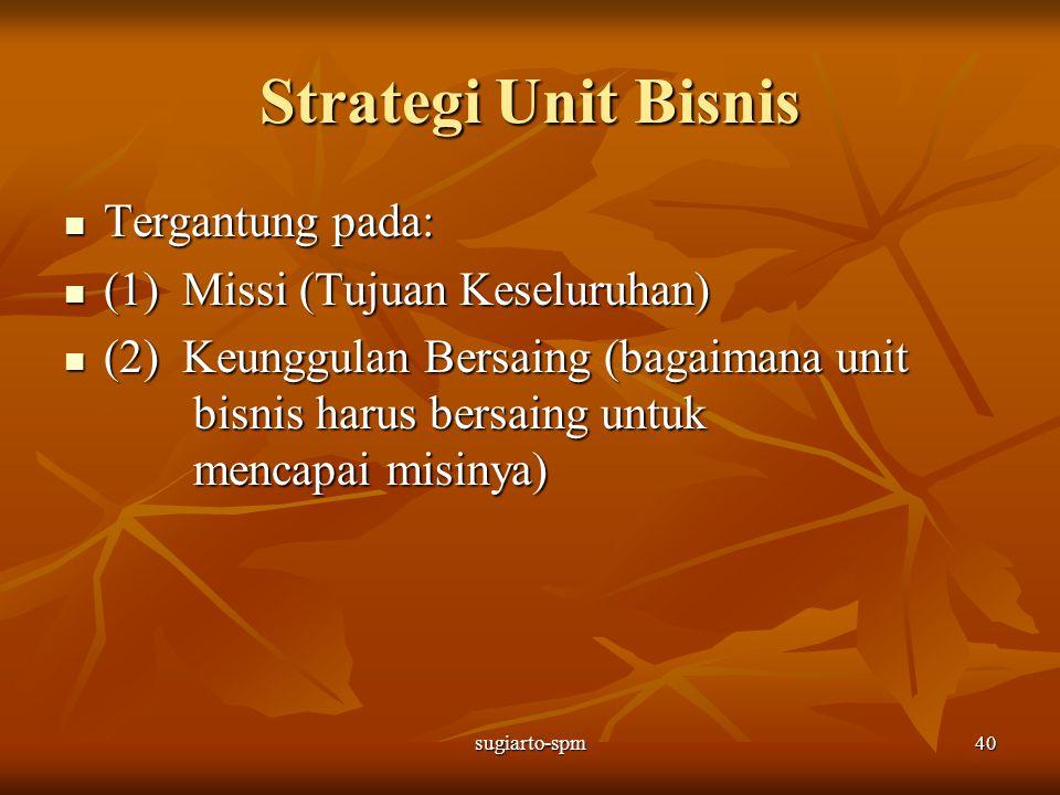 sugiarto-spm40 Strategi Unit Bisnis Tergantung pada: Tergantung pada: (1) Missi (Tujuan Keseluruhan) (1) Missi (Tujuan Keseluruhan) (2) Keunggulan Ber