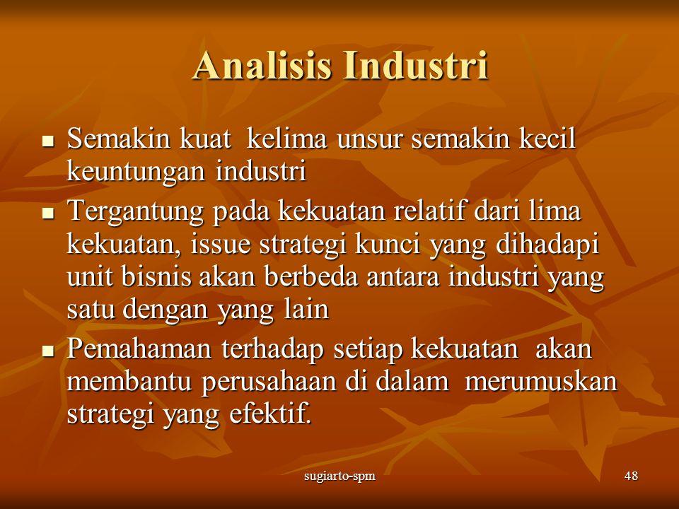 sugiarto-spm48 Analisis Industri Semakin kuat kelima unsur semakin kecil keuntungan industri Semakin kuat kelima unsur semakin kecil keuntungan indust