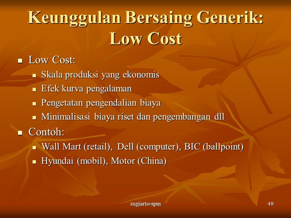 sugiarto-spm49 Keunggulan Bersaing Generik: Low Cost Low Cost: Low Cost: Skala produksi yang ekonomis Skala produksi yang ekonomis Efek kurva pengalam