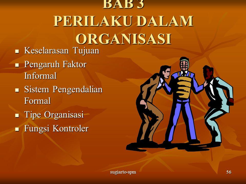 sugiarto-spm56 BAB 3 PERILAKU DALAM ORGANISASI Keselarasan Tujuan Keselarasan Tujuan Pengaruh Faktor Informal Pengaruh Faktor Informal Sistem Pengenda