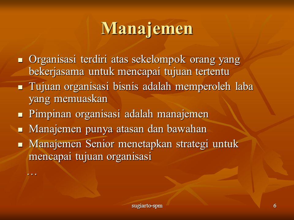 sugiarto-spm6 Manajemen Organisasi terdiri atas sekelompok orang yang bekerjasama untuk mencapai tujuan tertentu Organisasi terdiri atas sekelompok or