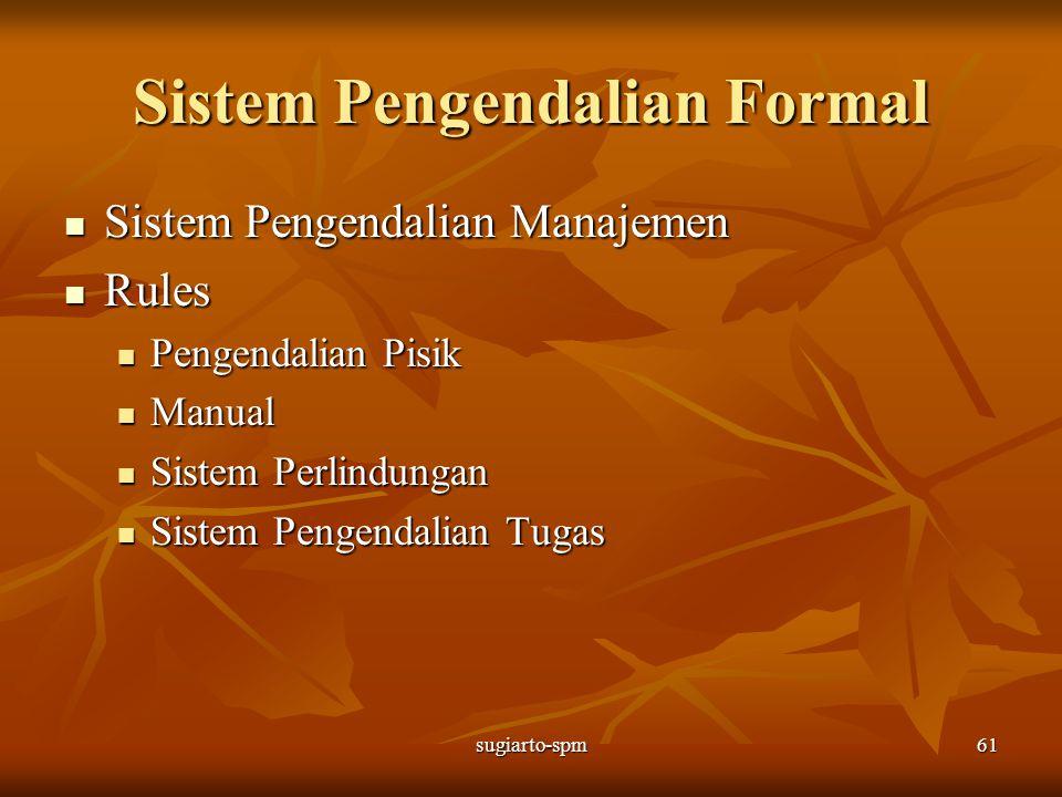 sugiarto-spm61 Sistem Pengendalian Formal Sistem Pengendalian Manajemen Sistem Pengendalian Manajemen Rules Rules Pengendalian Pisik Pengendalian Pisi
