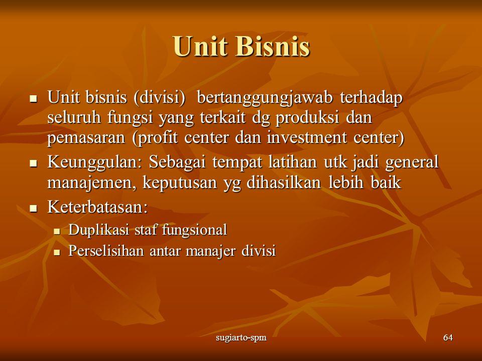 sugiarto-spm64 Unit Bisnis Unit bisnis (divisi) bertanggungjawab terhadap seluruh fungsi yang terkait dg produksi dan pemasaran (profit center dan inv