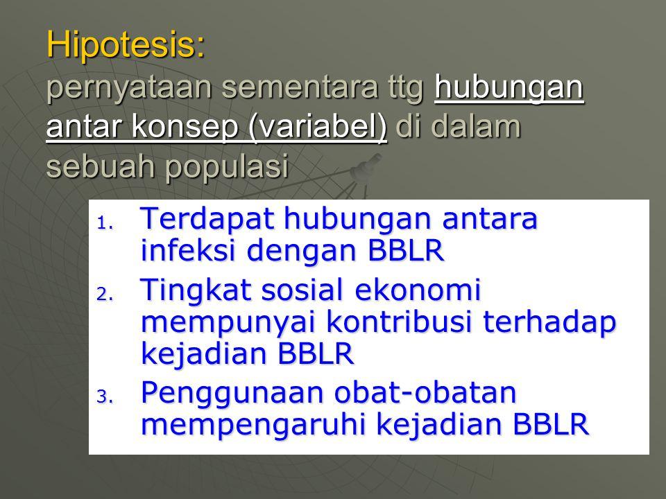 Hipotesis: pernyataan sementara ttg hubungan antar konsep (variabel) di dalam sebuah populasi 1. Terdapat hubungan antara infeksi dengan BBLR 2. Tingk