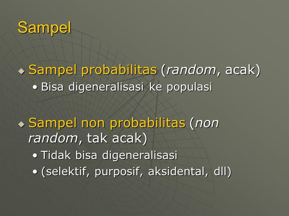 Sampel  Sampel probabilitas (random, acak) Bisa digeneralisasi ke populasiBisa digeneralisasi ke populasi  Sampel non probabilitas (non random, tak