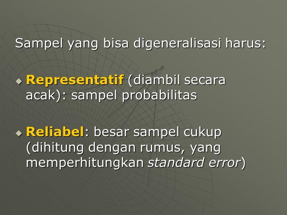Sampel yang bisa digeneralisasi harus:  Representatif (diambil secara acak): sampel probabilitas  Reliabel: besar sampel cukup (dihitung dengan rumu