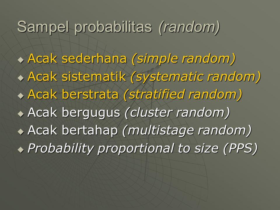 Sampel probabilitas (random)  Acak sederhana (simple random)  Acak sistematik (systematic random)  Acak berstrata (stratified random)  Acak bergug