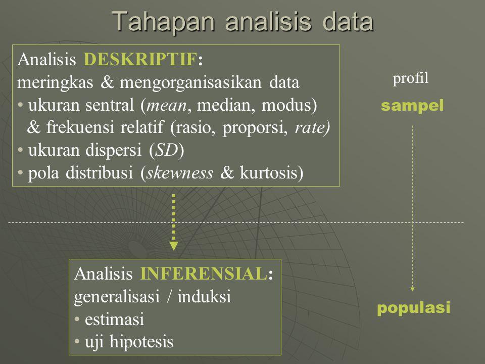 Tahapan analisis data Analisis DESKRIPTIF: meringkas & mengorganisasikan data ukuran sentral (mean, median, modus) & frekuensi relatif (rasio, propors