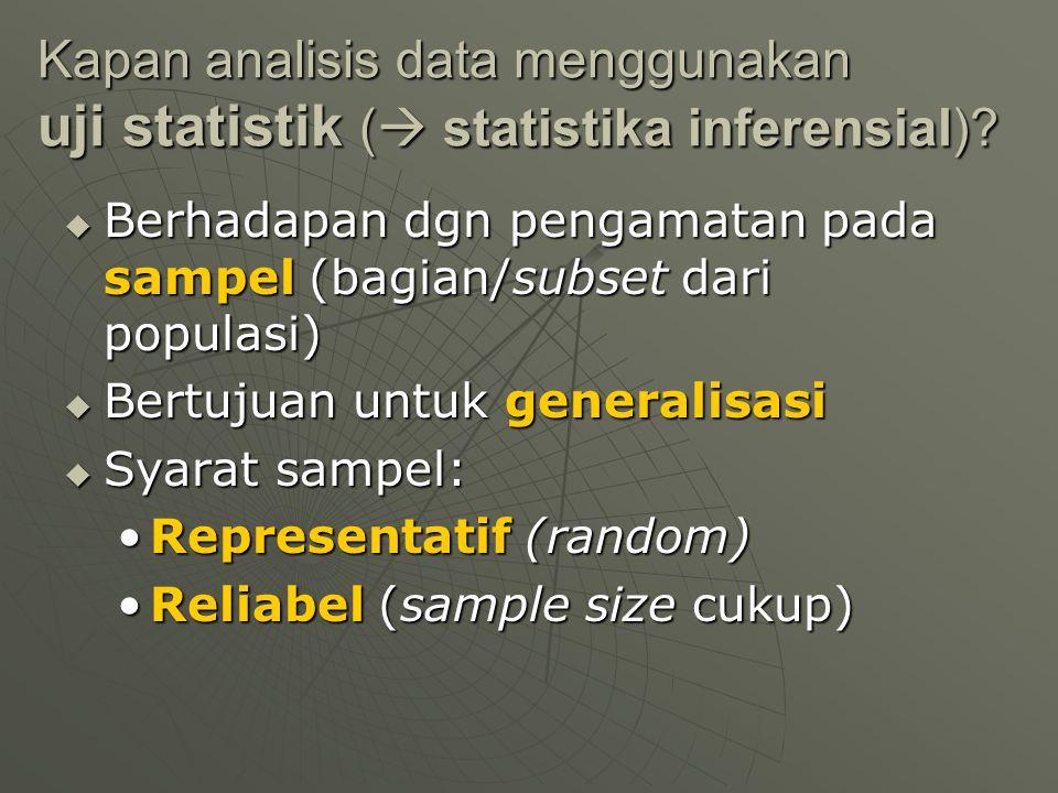 Kapan analisis data menggunakan uji statistik (  statistika inferensial)?  Berhadapan dgn pengamatan pada sampel (bagian/subset dari populasi)  Ber