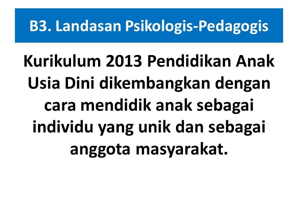 B2. Landasan Sosiologis Keseluruhan Pelaksanaan Pendidikan Anak Usia Dini dalam Kurikulum 2013 perlu menyesuaikan dengan tuntutan dan norma-norma yang