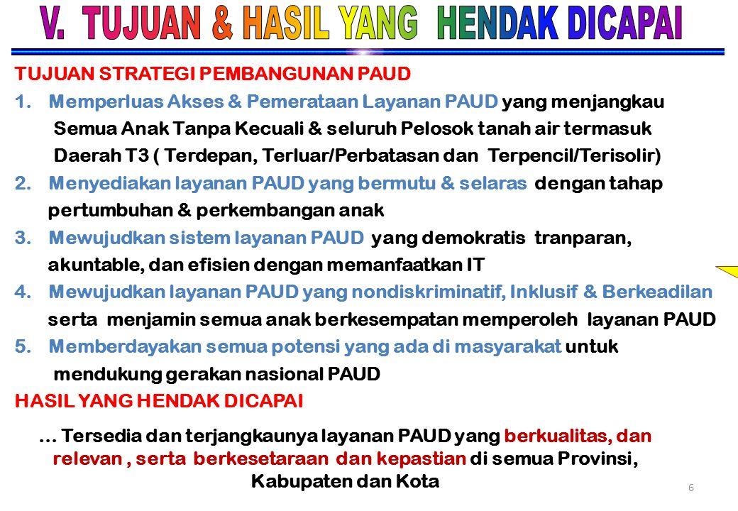 VISI DAN KEBIJAKAN PEMBINA DAN PAUD VISI PAUD M ewujudkan anak usia dini yang SEHAT, CERDAS, CERIA & BERAHLAK MULIA menuju terbentuknya insan Indonesi