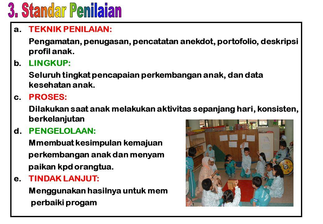 a.Struktur program  Bidang pengembangan pembentukan perilaku, dan  Bidang pengembangan kemampuan pengetahuan dasar (dilakukan melalui kegiatan berma