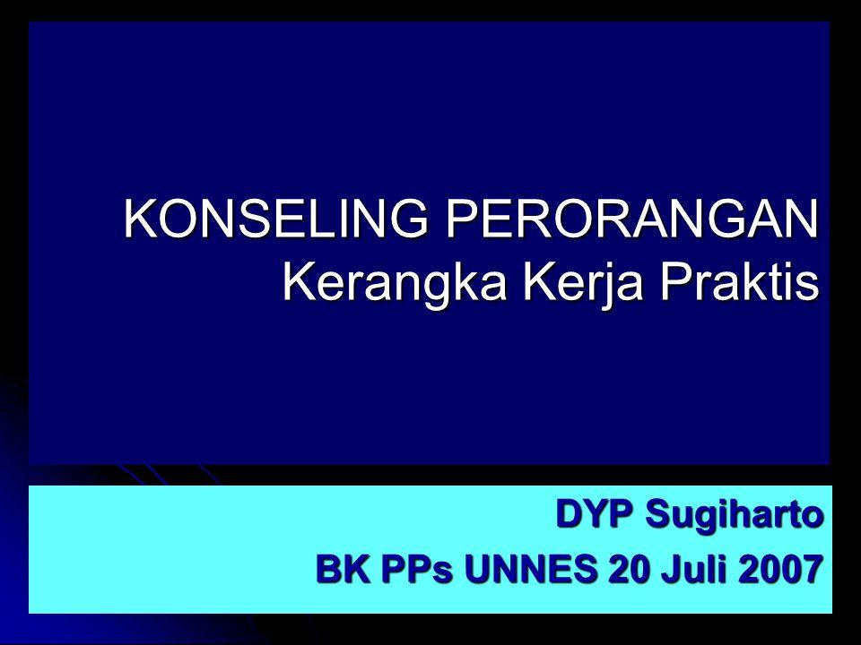 KONSELING PERORANGAN Kerangka Kerja Praktis DYP Sugiharto BK PPs UNNES 20 Juli 2007