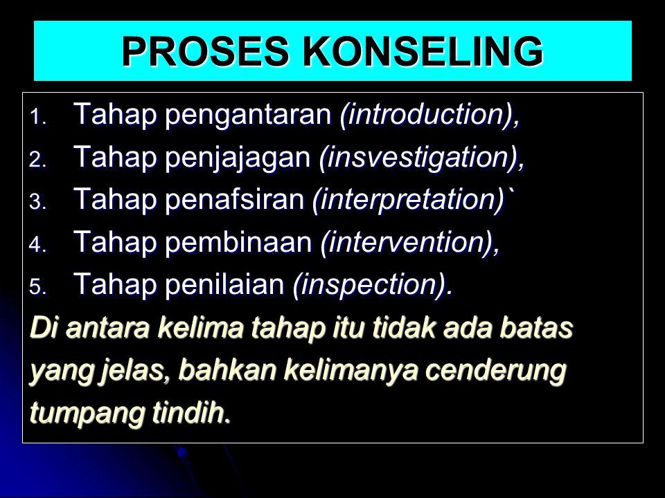 PROSES KONSELING 1. Tahap pengantaran (introduction), 2. Tahap penjajagan (insvestigation), 3. Tahap penafsiran (interpretation)` 4. Tahap pembinaan (
