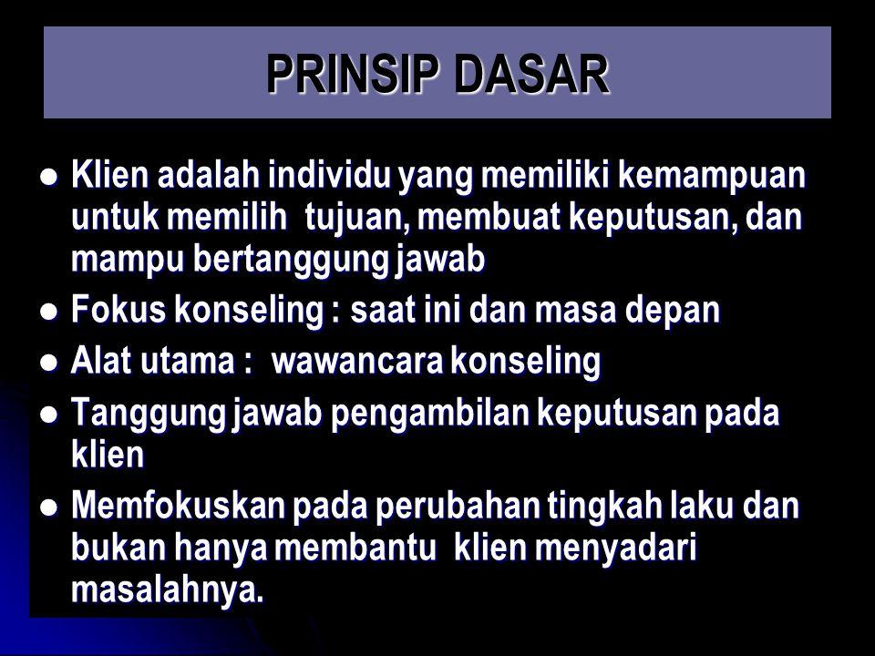 PRINSIP DASAR Klien adalah individu yang memiliki kemampuan untuk memilih tujuan, membuat keputusan, dan mampu bertanggung jawab Klien adalah individu