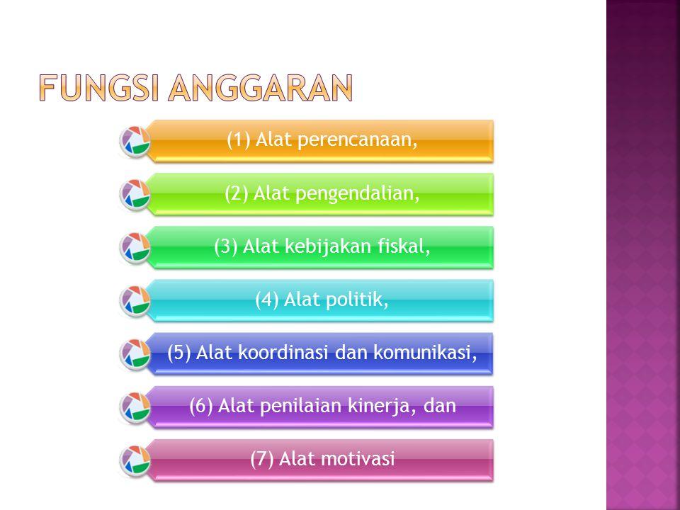 (1) Alat perencanaan, (2) Alat pengendalian, (3) Alat kebijakan fiskal, (4) Alat politik, (5) Alat koordinasi dan komunikasi, (6) Alat penilaian kinerja, dan (7) Alat motivasi