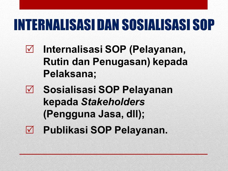 INTERNALISASI DAN SOSIALISASI SOP  Internalisasi SOP (Pelayanan, Rutin dan Penugasan) kepada Pelaksana;  Sosialisasi SOP Pelayanan kepada Stakeholde