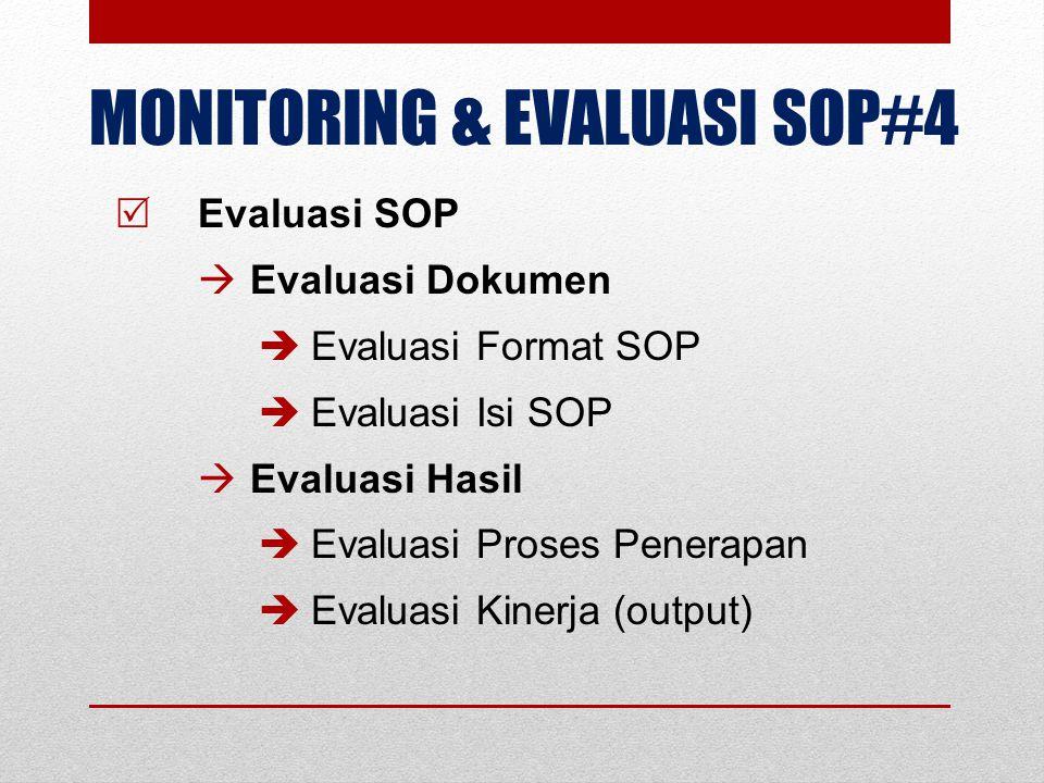 MONITORING & EVALUASI SOP#4  Evaluasi SOP  Evaluasi Dokumen  Evaluasi Format SOP  Evaluasi Isi SOP  Evaluasi Hasil  Evaluasi Proses Penerapan 