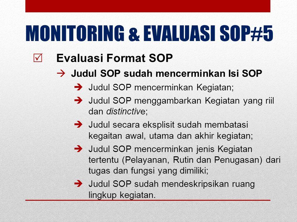 MONITORING & EVALUASI SOP#5  Evaluasi Format SOP  Judul SOP sudah mencerminkan Isi SOP  Judul SOP mencerminkan Kegiatan;  Judul SOP menggambarkan