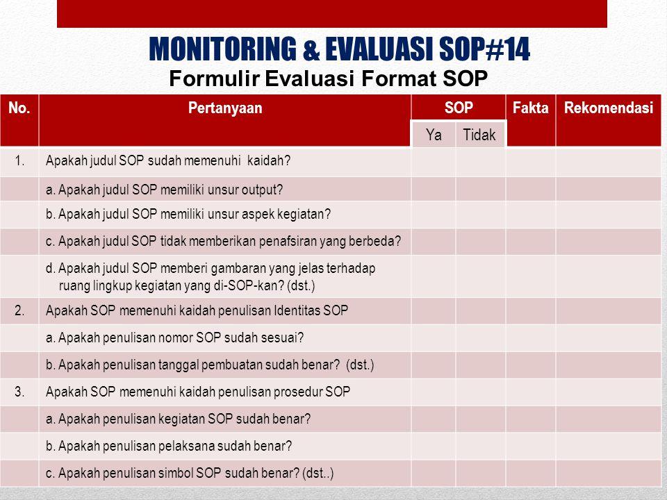 MONITORING & EVALUASI SOP#14 Formulir Evaluasi Format SOP No.PertanyaanSOPFaktaRekomendasi YaTidak 1.Apakah judul SOP sudah memenuhi kaidah? a. Apakah