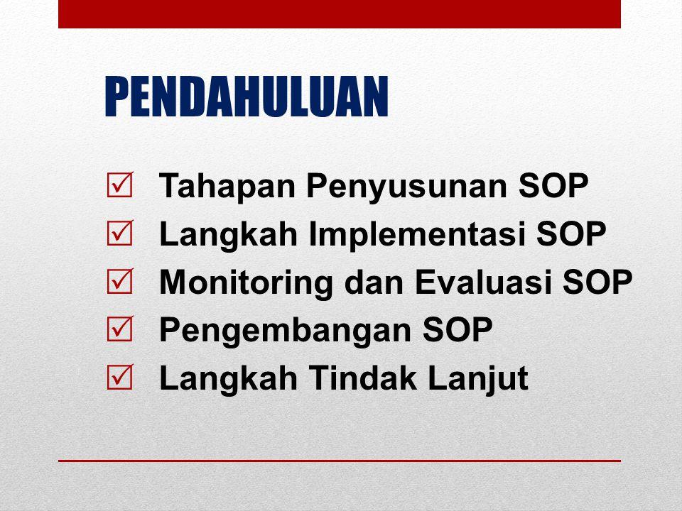 TAHAP PENYUSUNAN SOP  Identifikasi (Judul) SOP  Identifikasi Kegiatan SOP  Formatisasi SOP  Pendokumentasian SOP  Penetapan SOP  Implementasi SOP  Monitoring dan Evaluasi SOP  Pengembangan SOP