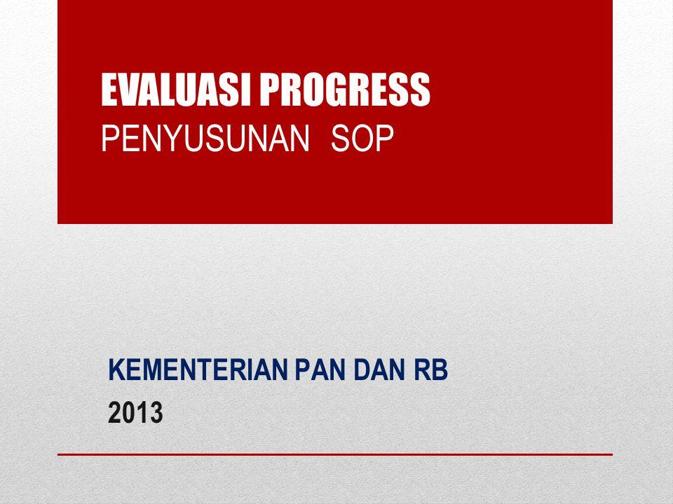 EVALUASI PROGRESS PENYUSUNAN SOP KEMENTERIAN PAN DAN RB 2013
