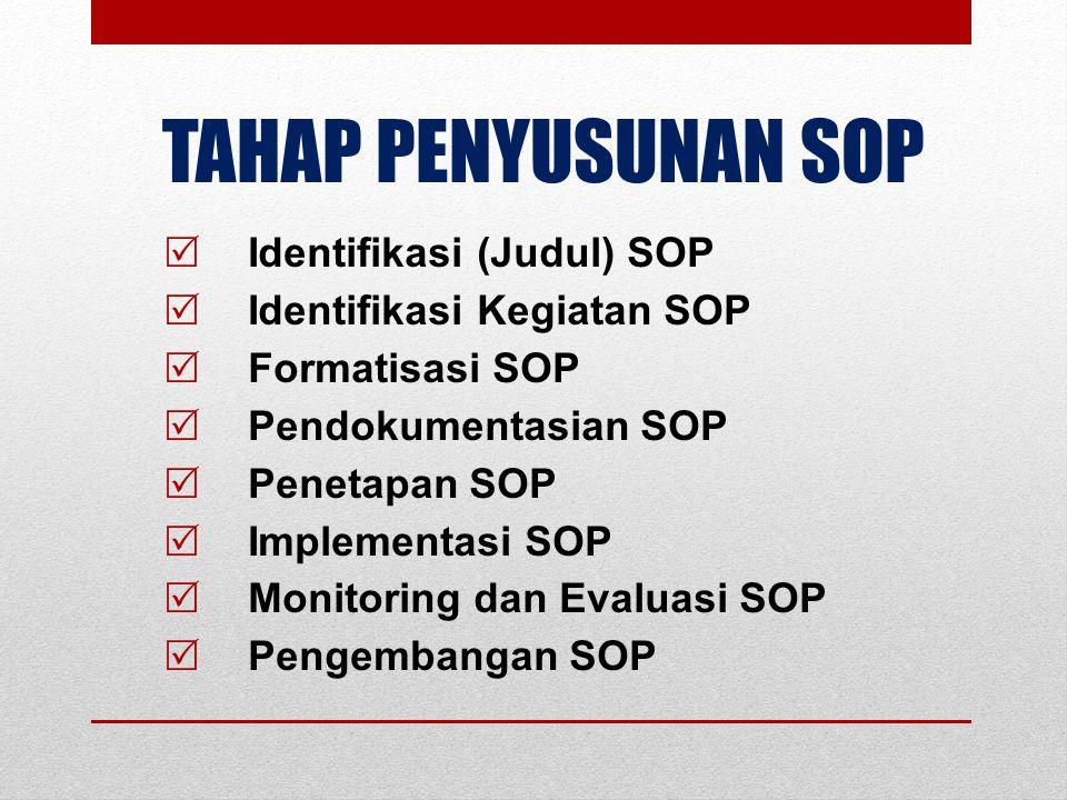 TAHAP PENYUSUNAN SOP  Identifikasi (Judul) SOP  Identifikasi Kegiatan SOP  Formatisasi SOP  Pendokumentasian SOP  Penetapan SOP  Implementasi SOP  Monitoring dan Evaluasi SOP  Pengembangan SOP Sudah dilaksanakan